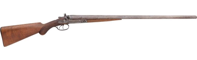 The 16-gauge Parker Brothers Hammer shotgun once belonged to famed sharpshooter Annie Oakley.