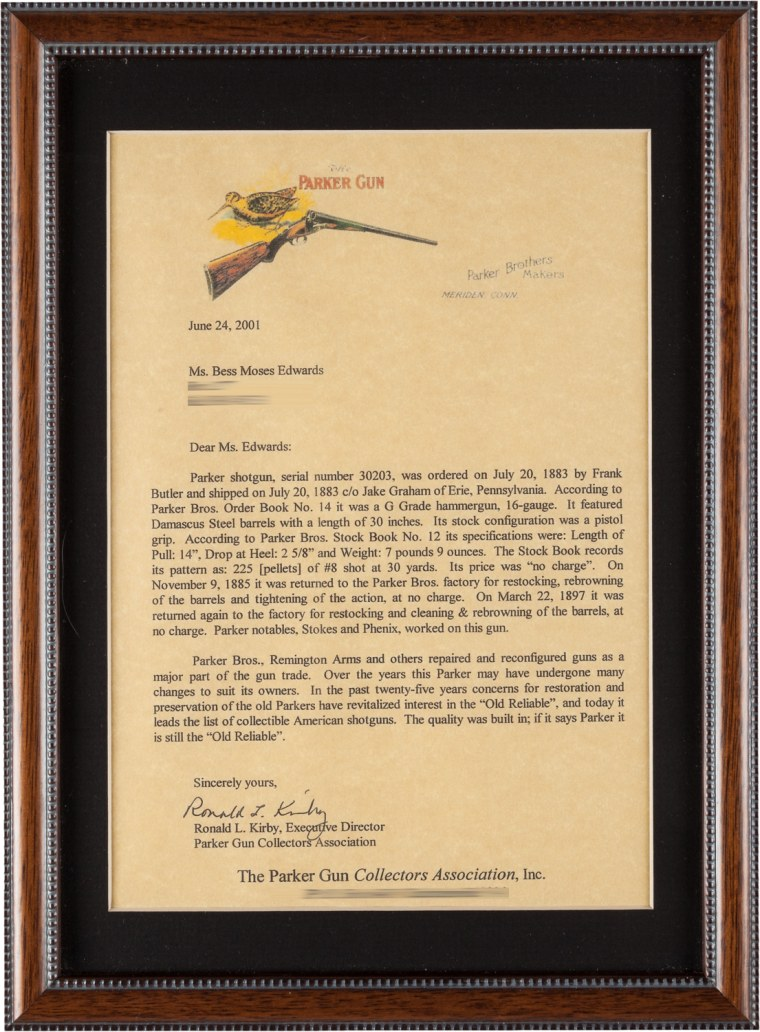 A letter authenticating that the 16-gauge Parker Brothers Hammer shotgun once belonged to Annie Oakley.