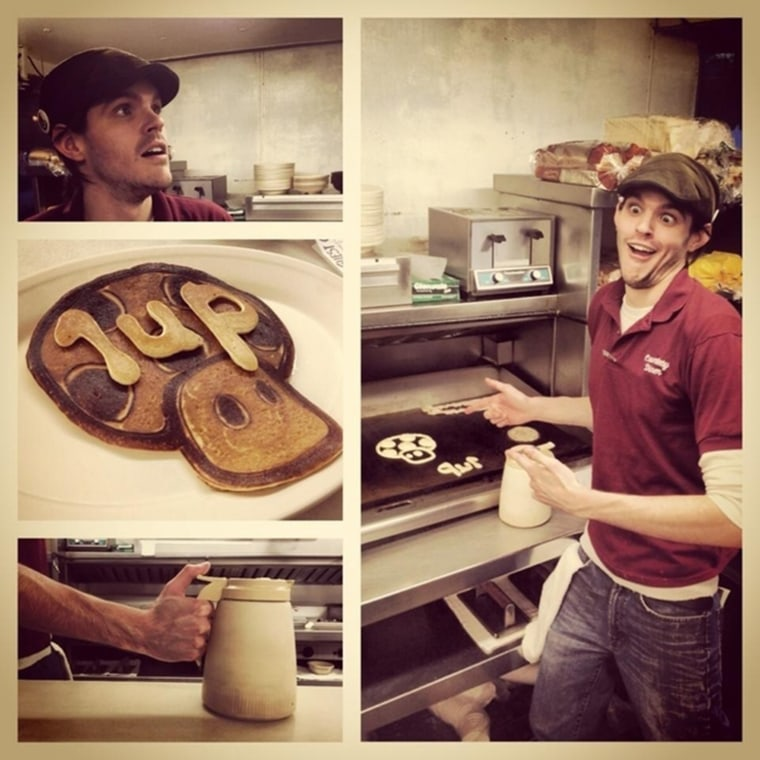 Dan the Pancake Man has tons of fun at work, creating edible works of pancake art.