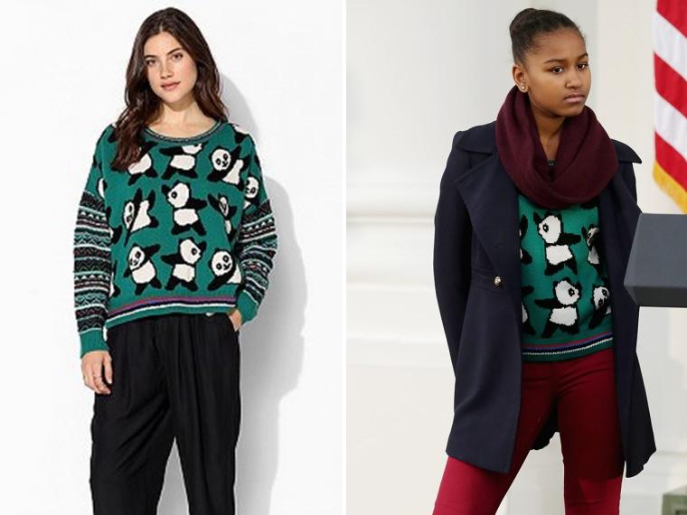 Image: Panda sweater and Sasha Obama