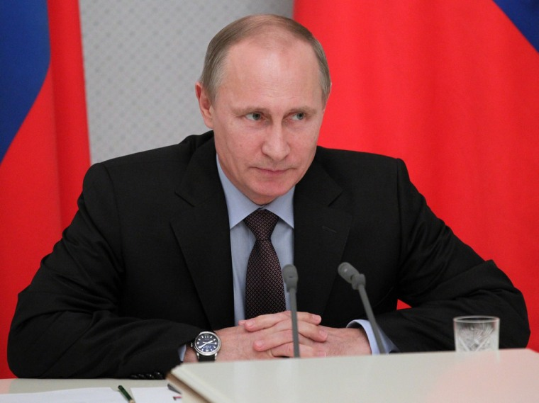 Russian President Vladimir Putin speaks at a meeting with arms corporations heads in Sochi, Russia, on Wednesday.