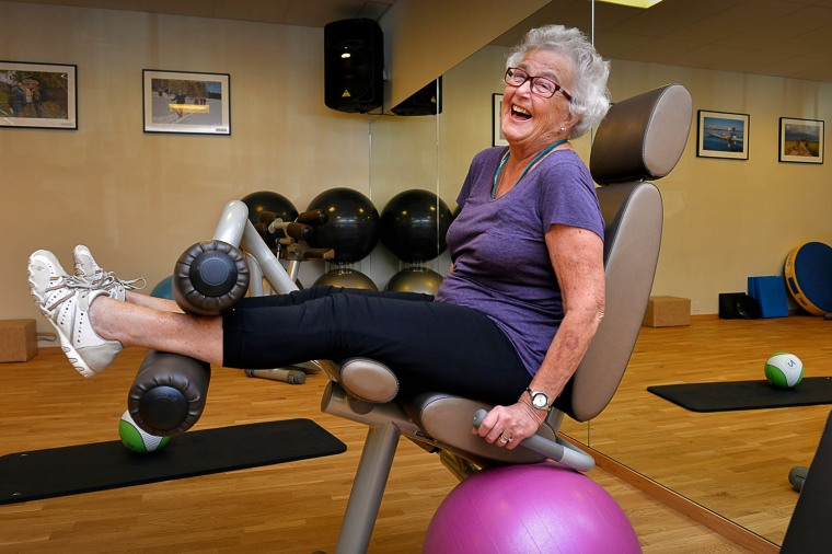 In this Sept. 26, 2013 photo, 80-year-old Marianne Blomberg works out at a gym in Stockholm. Much of the world is not prepared to support the ballooni...