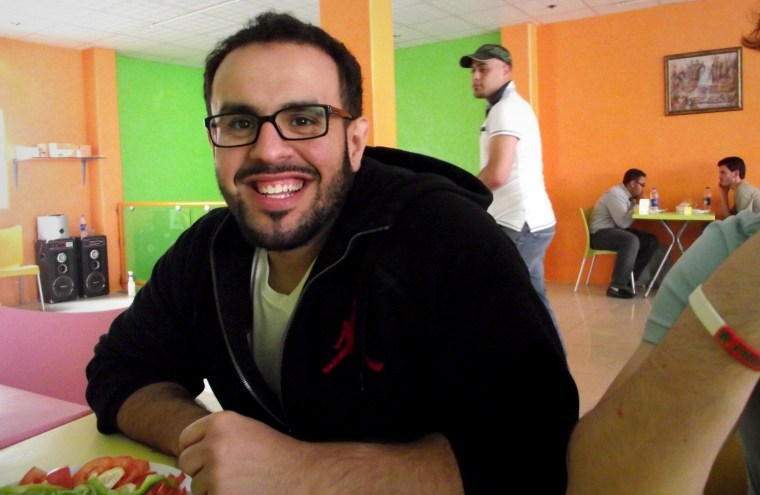 In this undated photo, Mohamed Soltan appears at a Syrian refugee camp in Jordan. An American citizen, Soltan is being held in Egypt and has smuggled out a letter to his mother.