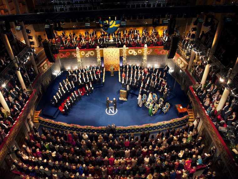 The Nobel prize ceremony in Stockholm, Sweden, December, 2012.