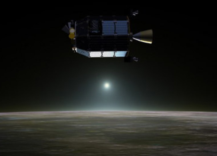Artist's concept of NASA's Lunar Atmosphere and Dust Environment Explorer (LADEE) spacecraft.