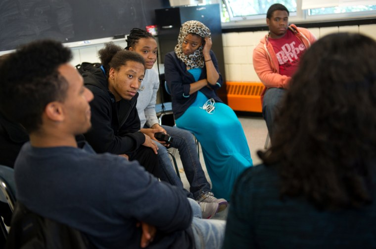 Students at Charlestown High School in Boston join a discussion circle on Sept. 27, part of Diploma Plus, a restorative justice program that offers at-risk students guidance, conflict resolution and peer mentoring.