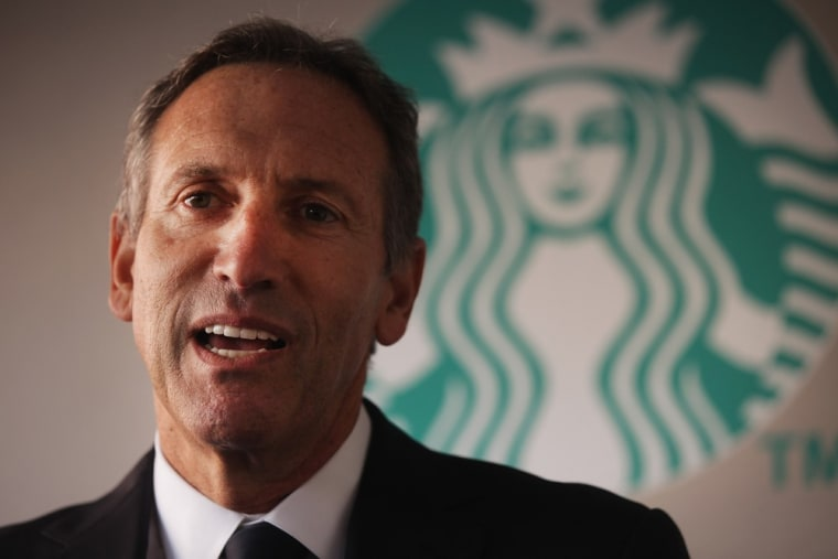 Starbucks CEO Howard Schultz, shown above, is trying to use a free coffee promo to get a message to Washington lawmakers: get together.
