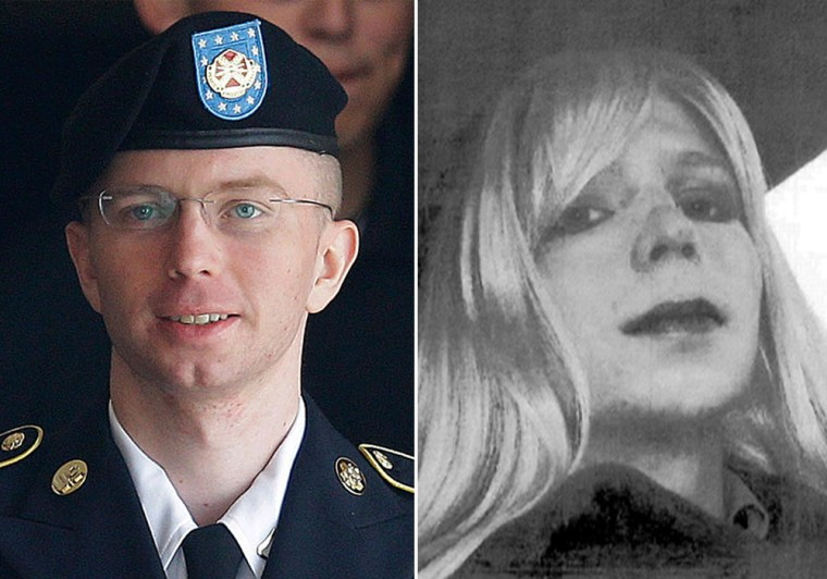 Bradley Manning wearing his Army uniform, left, and wearing a wig, right.