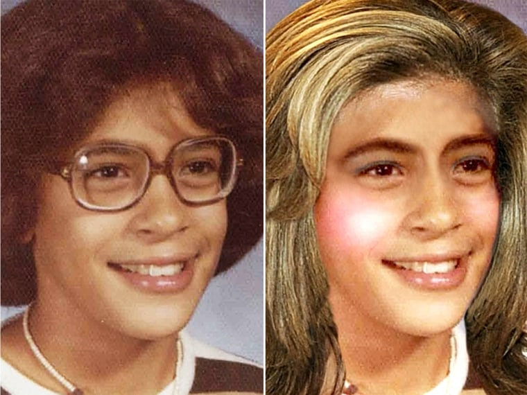 Hoda's school picture, left, and imagining what it would look like retouched, right.