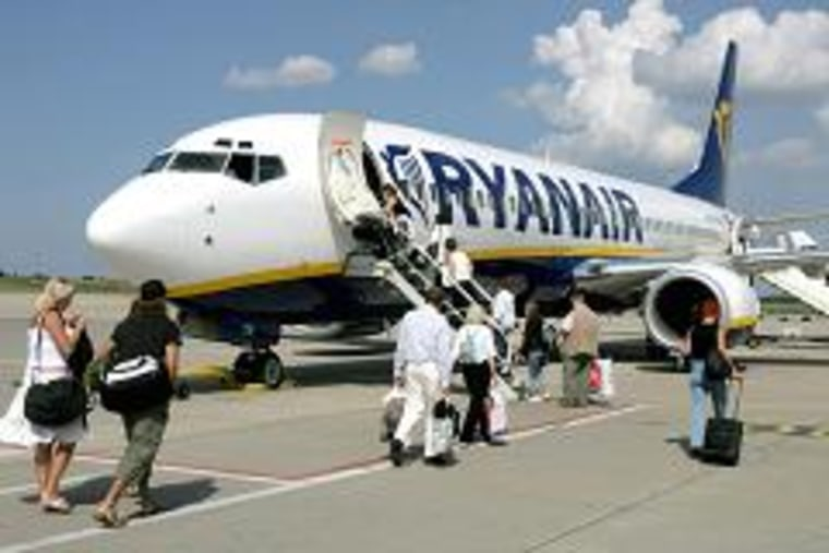 Passengers board a Ryanair flight at the Frankfurt-Hahn Airport.