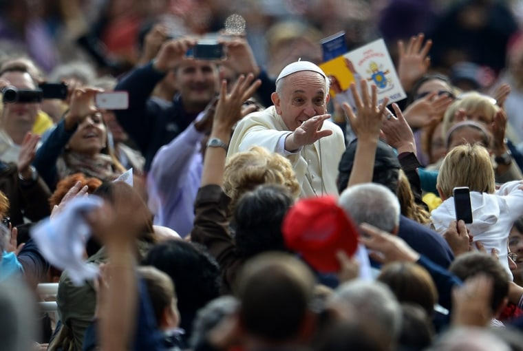 Pope Francis arrives for an open-air general audience at St. Peter's Square last week.