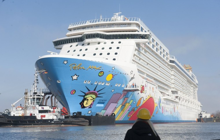 "The new ""Norwegian Breakaway"" cruise liner -- seen here as it leaves the Meyer-Werft shipyard in Papenburg, Germany, in March -- departs from New York. Norwegian has won awards for its short-duration cruises."