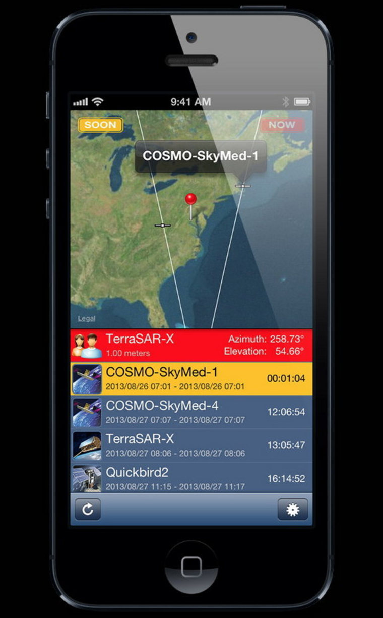 Screenshot of the new iPhone app SpyMeSat, which lets users track overhead imaging satellites.