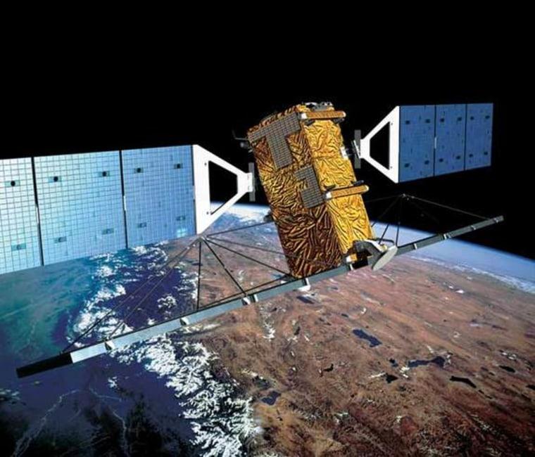 An artist's interpretation of Canada's Radarsat-2 Earth observation satellite in orbit.