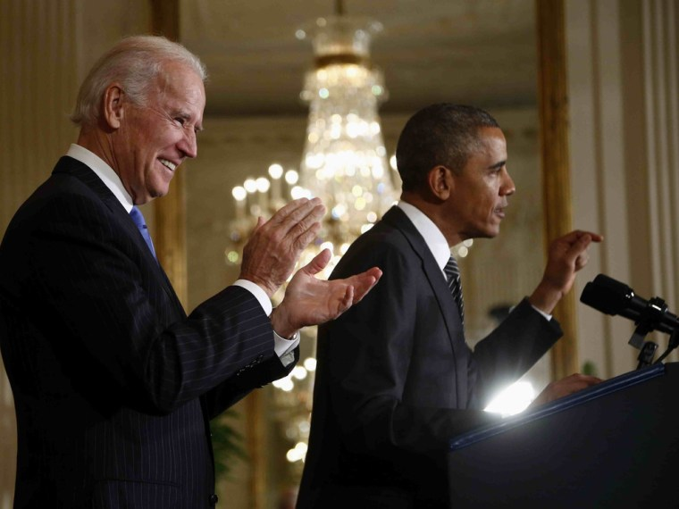 Vice President Joe Biden applauds as President Barack Obama speaks about immigration reform, Thursday, Oct. 24, 2013, in the East Room of the White House in Washington.