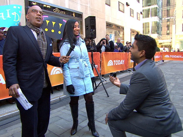 Al Roker helps a man propose to his girlfriend live on TODAY.