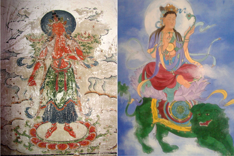LEFT: This picture taken on April 3, 2011 shows one of the ancient frescoes that are now covered by cartoon-like paintings in Yunjie Temple in Chaoyang, northeast China. RIGHT: This picture taken on October 14, 2013 shows one of the current frescoes.