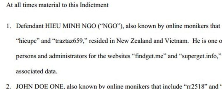 A portion of the indictment charging Hieu Minh Ngo. Click on the image to read the document in PDF.