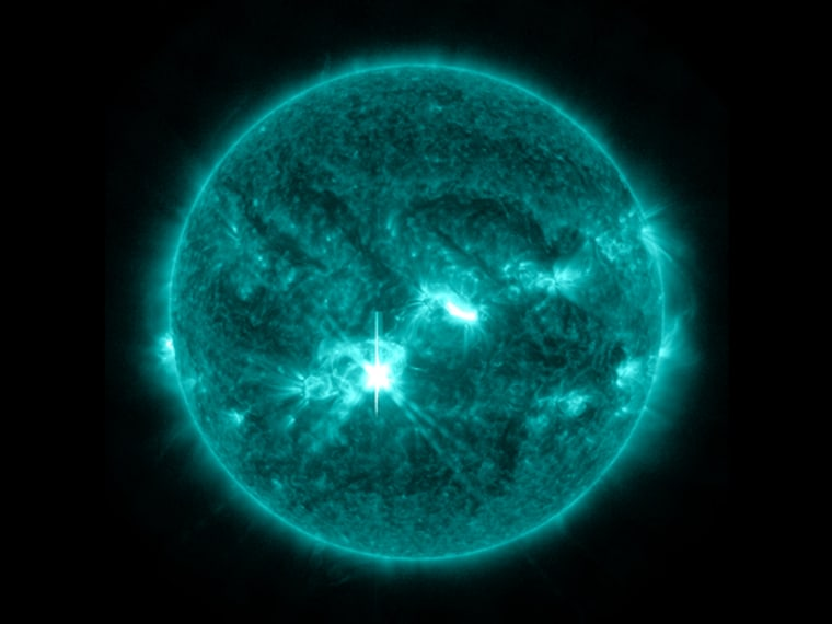 Sun erupts with two big solar flares