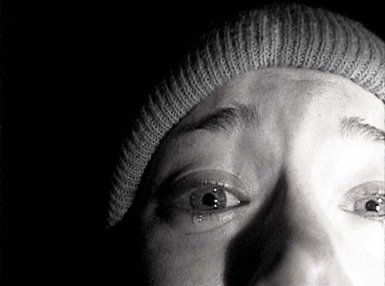 Heather Donahue turns the camera on herself during her confession scene from the horror film 'The Blair Witch Project.' Artisan Entertainment, the com...