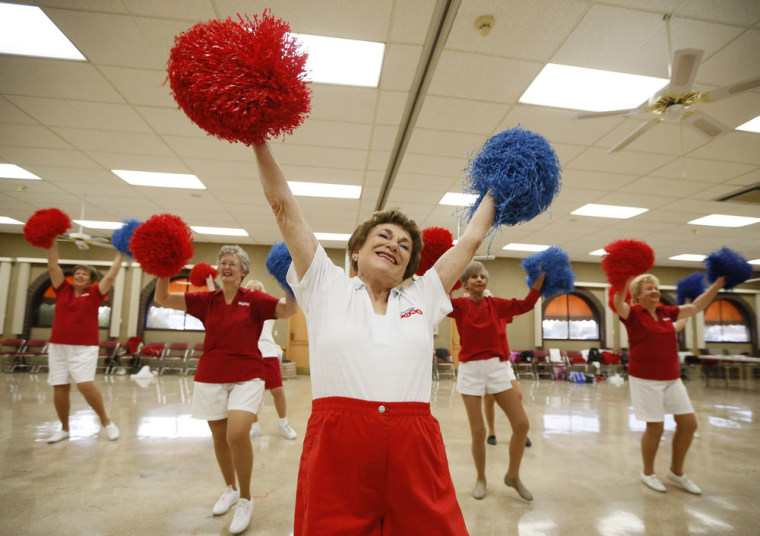 Pat Weber, 81, leads the Sun City Poms cheerleader dancers as they rehearse in Sun City, Arizona, January 7, 2013. Sun City was built in 1959 by entre...