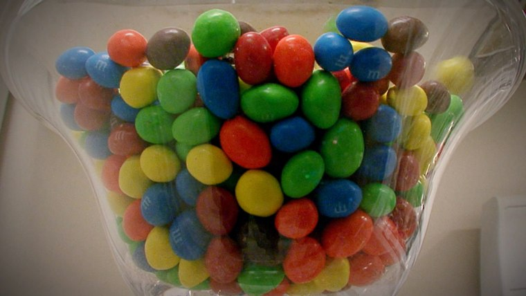 Candies colored with artificial dyes.