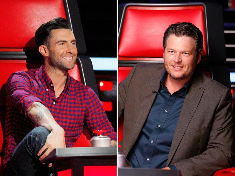 Image: Adam Levine and Blake Shelton on The Voice.