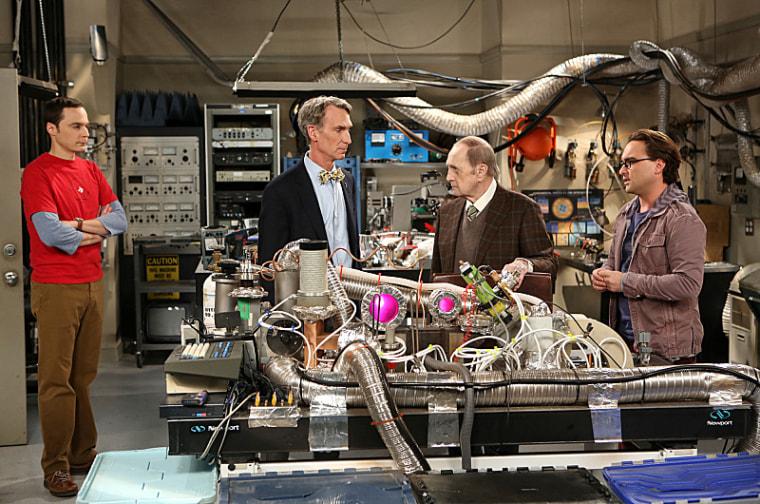 Sheldon (Jim Parsons) uses Bill Nye the Science Guy to show up Professor Proton (Bob Newhart).