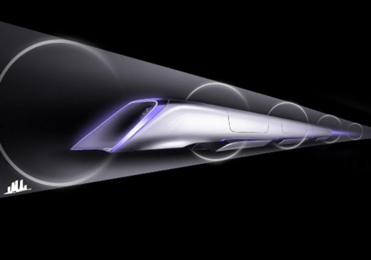 Hyperloop passenger transport capsule conceptual design rendering.