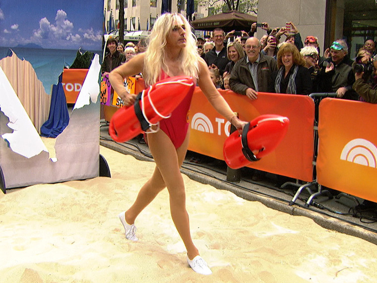 Matt Lauer slow-runs on the plaza as Pamela Anderson's character from Baywatch.