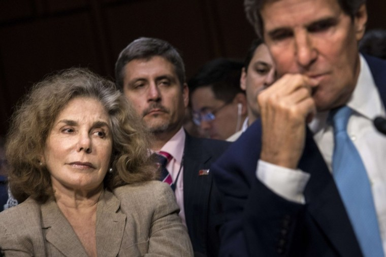 Teresa Heinz Kerry and her husband US Secretary of State John Kerry listen during a hearing of the Senate Foreign Relations Committee on Capitol Hill on Tuesday.
