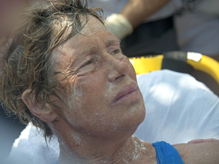 Diana Nyad, 64, after completing a record-setting swim from Cuba to Key West, Florida, on September 2, 2013.
