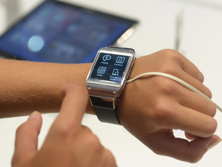 Samsung Galaxy Gear smartwatch, presented at an IFA show booth in Berlin last Thursday.