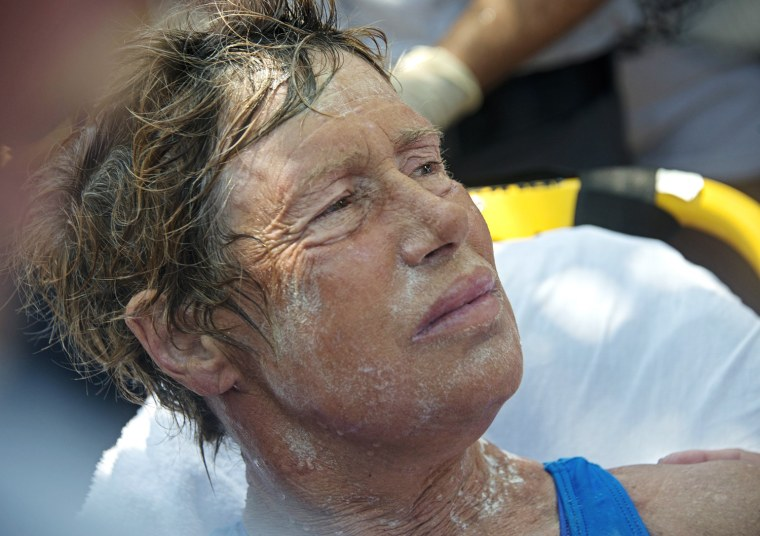Diana Nyad receives medical treatment after completing a 111-mile swim from Cuba to Key West, Florida,USA, 02 September 2013. Nyad, 64, is the first swimmer to cross the Florida Straits without the security of a shark cage.U / HANDOUT EDITORIAL USE ONLY, NO SALES