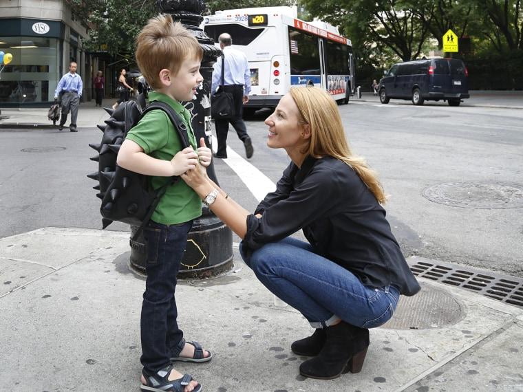 Jacoba Urist talks to son Wilson, 4, as they walk to preschool in Lower Manhattan.