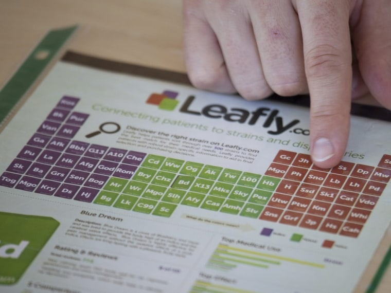 Brendan Kennedy, CEO of Privateer Holdings and President of Leafly, displays an ad in Seattle in July.