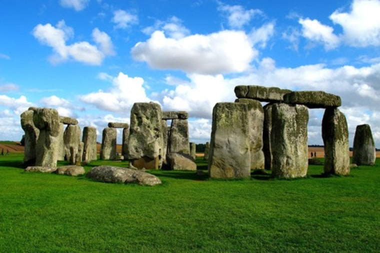 The prehistoric Stonehenge, in Wiltshire, England, is best known for the remains of a circle of standing stones.