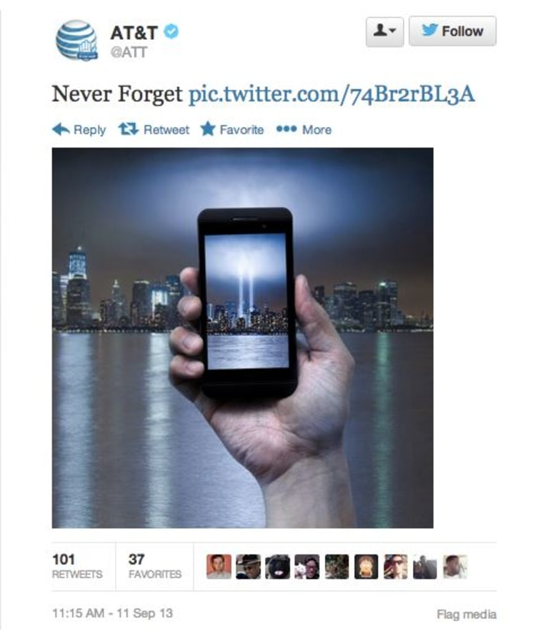 AT&T apologizes for tweeting 9/11 ad