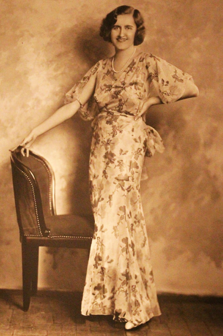 Huguette Clark poses in a Japanese print dress in about 1943, when she was 37.
