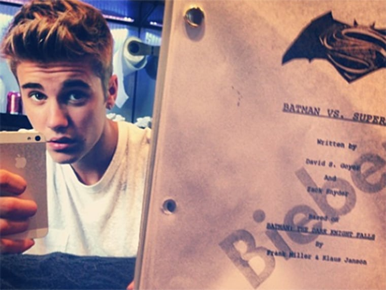 Justin Bieber teases his 'Batman vs. Superman' script on Instagram