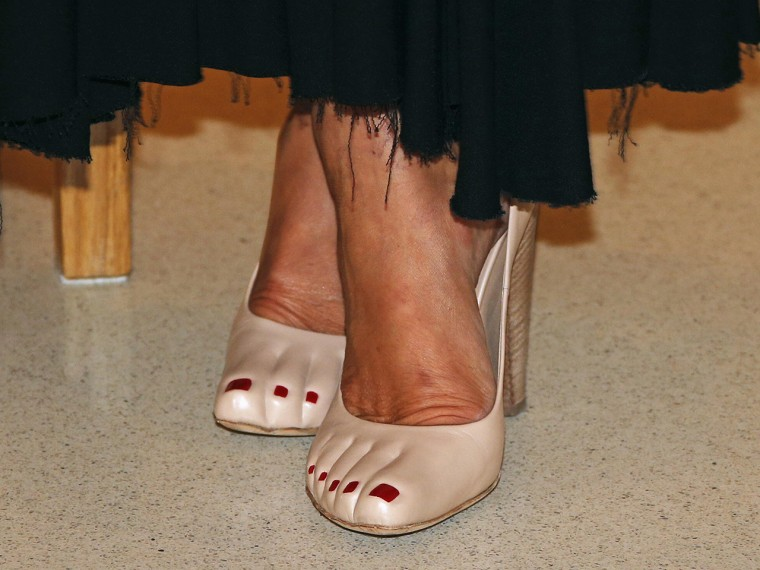 "Image: Princess Caroline's ""pedicure"" shoes were spotted at a fundraising dinner for the new national museum in Monaco on Sept. 17, 2013."