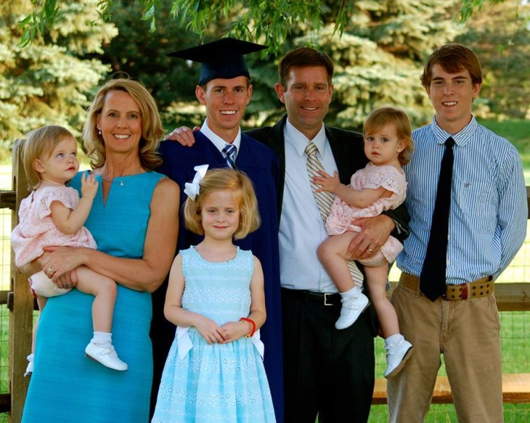 The Savage Family, from left, Isabella, Carolyn, Mary Kate, Drew, Sean, Reagan, and Ryan.