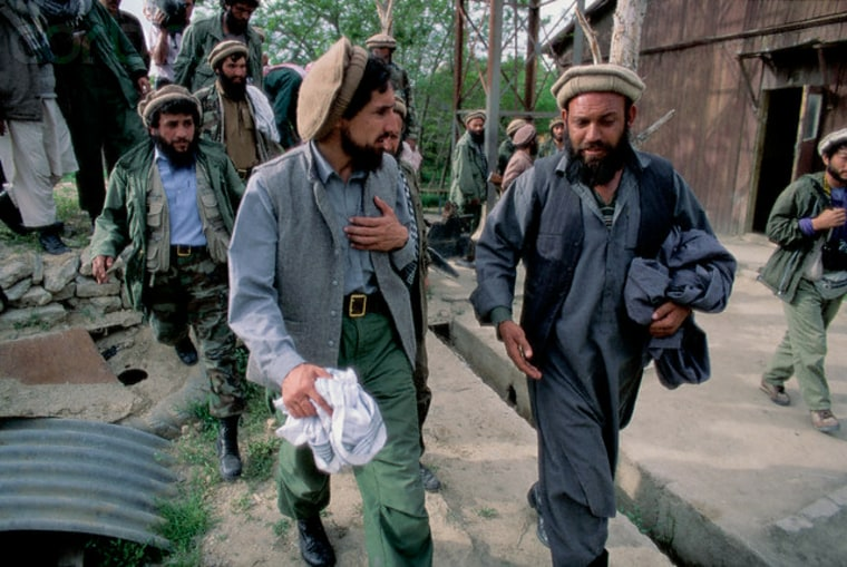 Haji Mohammad Almas Zahid, right, with legendary Northern Alliance commander Ahmad Shah Massoud in 1992.