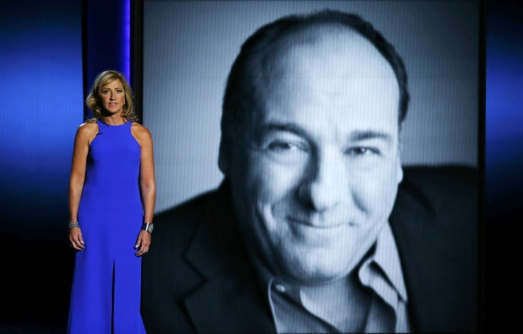 Image: Actress Edie Falco delivered a tribute to James Gandolfini the Primetime Emmys.