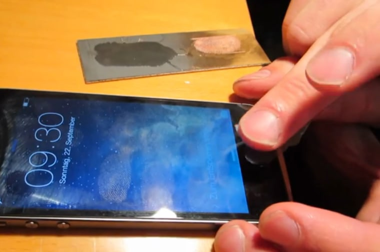 Screengrab of Chaos Computer Club's video showing possible fingerprint spoof hack of the iPhone 5S