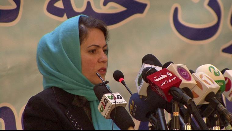 Fawzia Koofi launches bid to be president in Kabul, Afghanistan, Thursday.