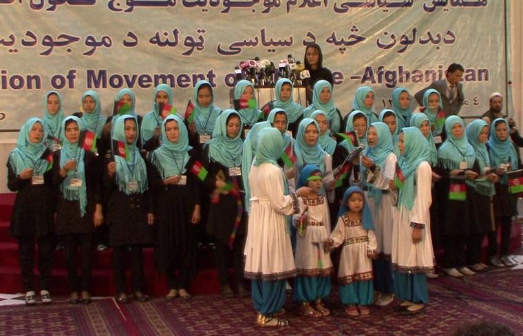 Girls sing at an event where Fawzia Koofi launched her bid to be president in Kabul, Afghanistan, on Sept. 26, 2013. The girls hail from Koofi's home province, Badakhshan.