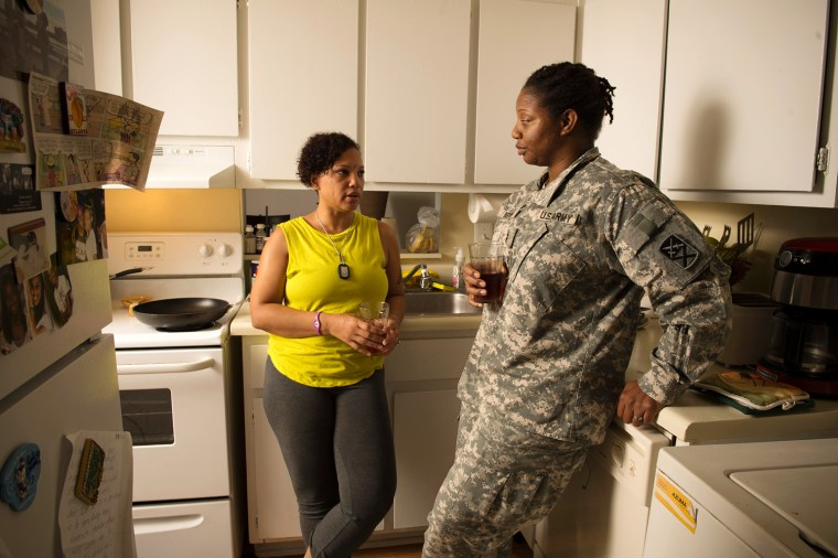 LaShonda Benson, 40 is an Army CW2 Mobility Warrant officer who served three tours in Iraq. Hewr spouse Aaneesah Amatullah-Benson, 40, is an unemployed special education para-professional, looking for work. They say the looming government shutdown -- that includes military personnel -- has left their family of four struggling with money worries. In preparation, they have slashed spending, and started using on food stamps. They know they will not meet their monthly bills should the military stop compensating troops under a federal shutdown.