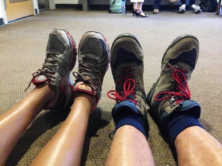 Hoda showed off this picture of her shoes, lined up against her mystery man's.
