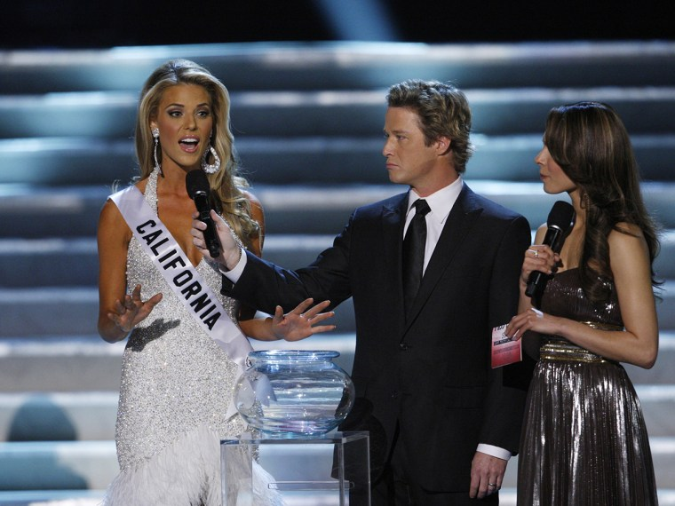 Miss California Carrie Prejean responds to a question about gay marriage with during the Miss USA Pageant in 2009.